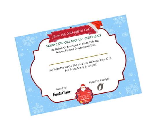 Being NICE Santa's Certificate - Christmas Gift