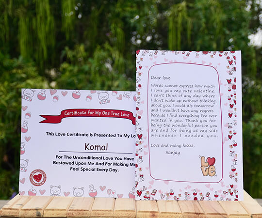 Valentines day love letter and certificate