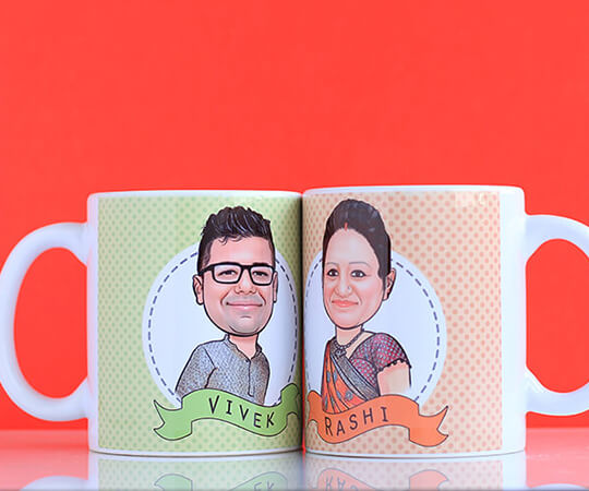 Couple caricature mug