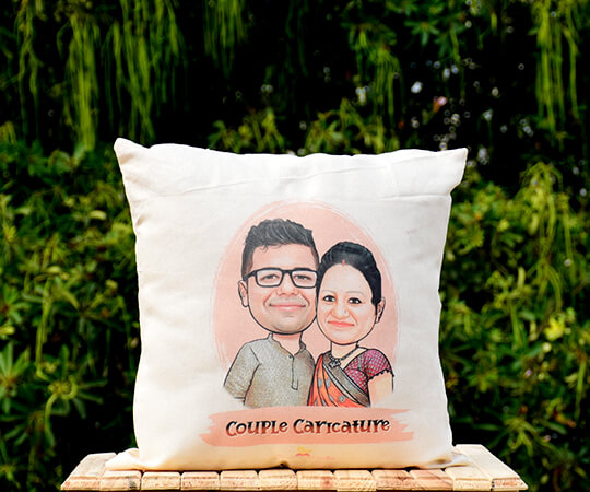 Caricature Couple Cushion