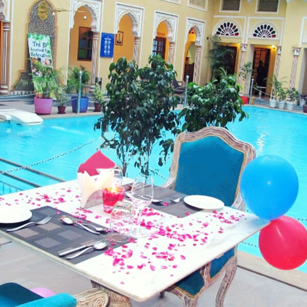 Regal Poolside Candle light Dinner at Nirbana Palace